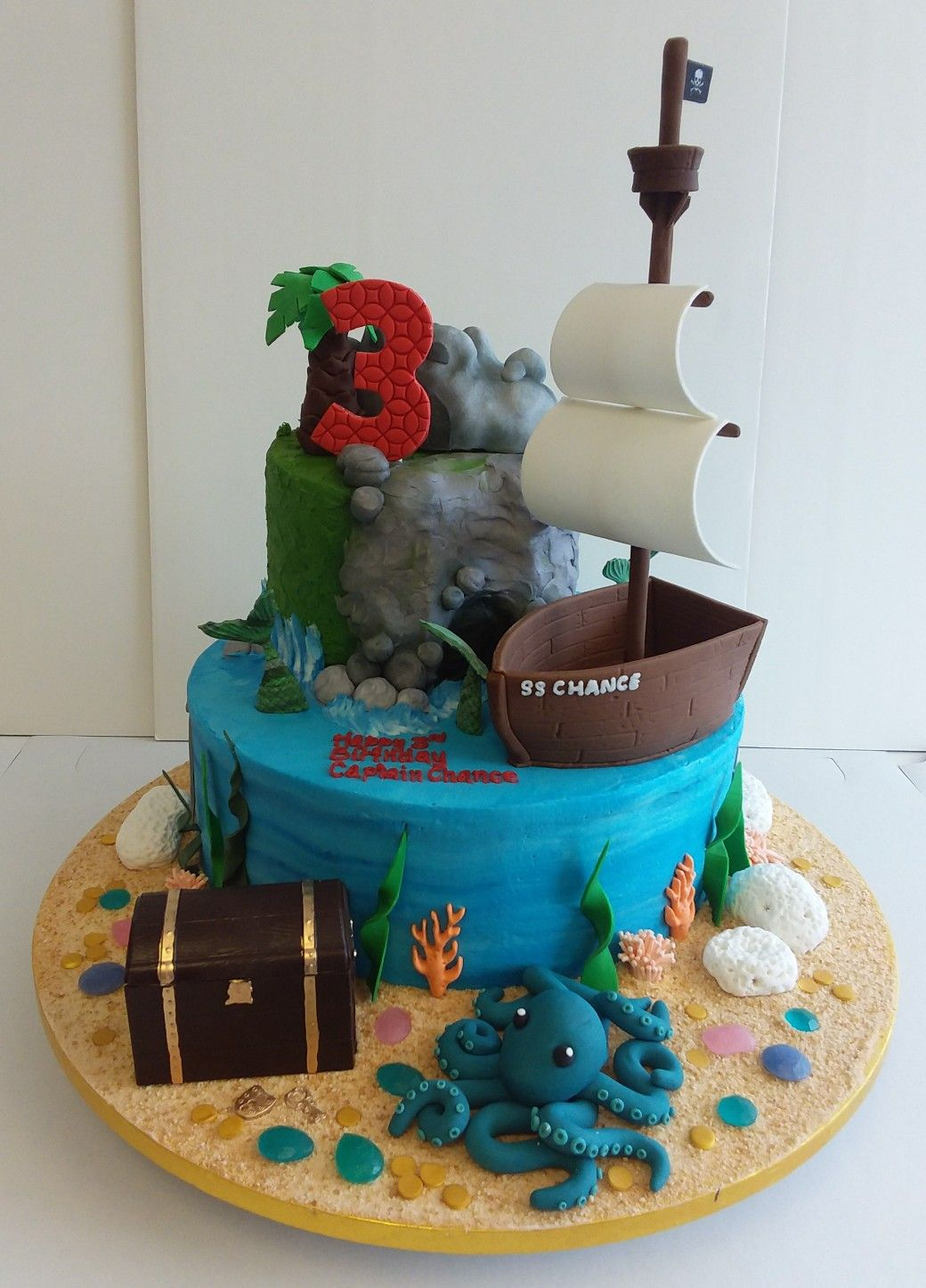 Magnificent Pirate Themed Cake With Ship Mermaids Treasure Chest And Cove Birthday Cards Printable Inklcafe Filternl