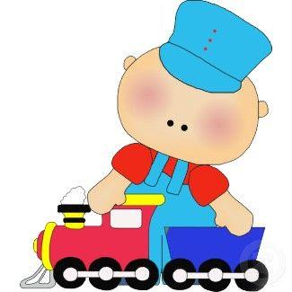 Great Centerpiece - Photo Sculpture Baby Boy Train Driver