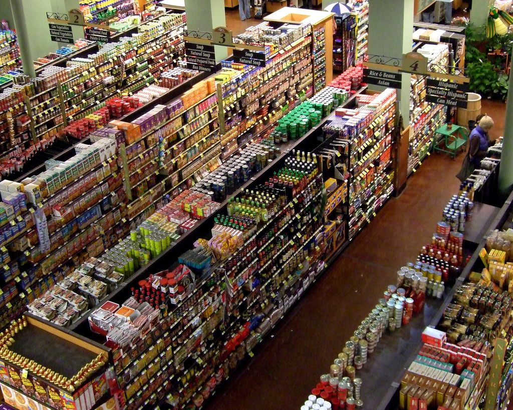 View From Above Of A Grocery Store Aisle