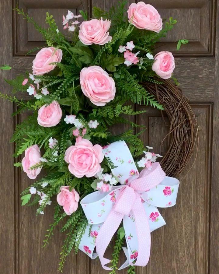 Photo of Ghirlanda di rose rosa, ghirlanda di rose, ghirlanda di primavera, regalo per la festa della mamma