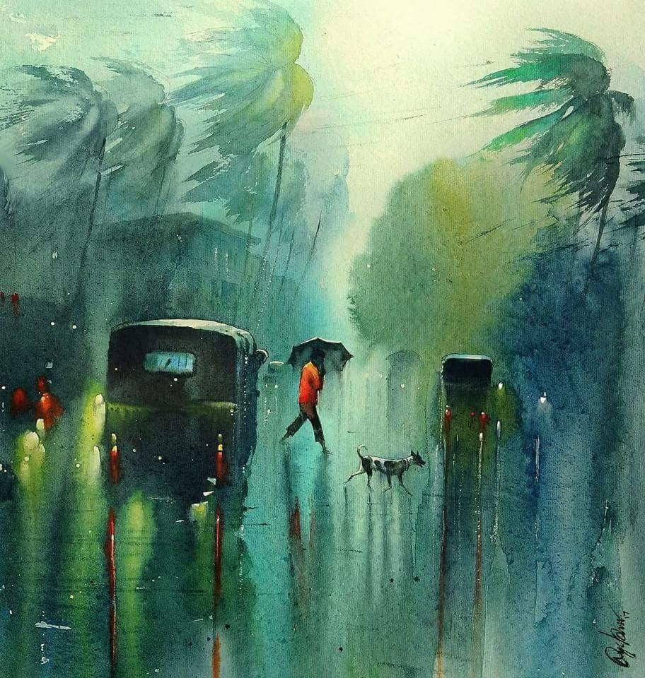 Nadeesh Prabou Famous Young Artist And His Beautiful And Amazing Watercolor Painting Watercolor Landscape Paintings Watercolor Paintings Nature