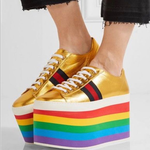 b5d137c61f4 Spotted while shopping on Poshmark  Gucci Peggy Platform Sneaker Metallic  Gold Rainbow!  poshmark