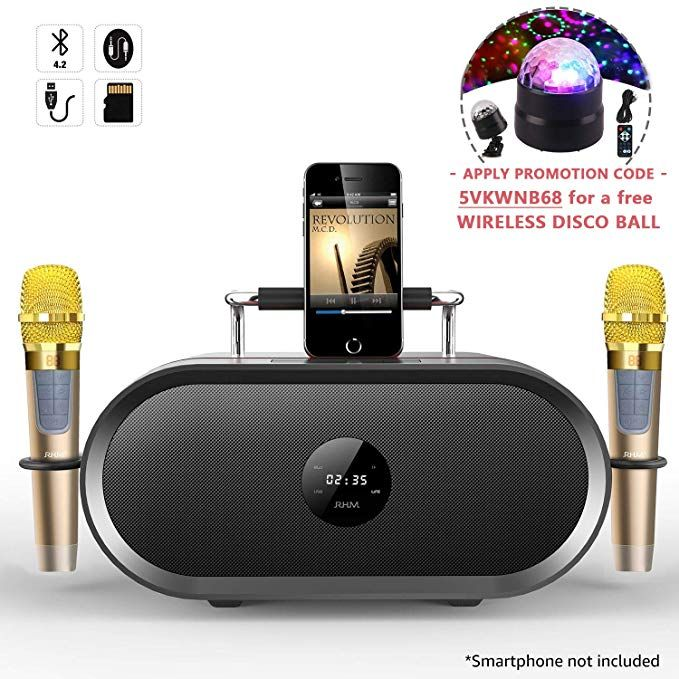 Amazon.com: RHM Karaoke Machine for Kids&Adult,2 Wireless Microphones,Rechargeable Battery Speaker,Portable PA Speaker System with Bluetooth/AUX/USB/SD for Home,Party,Wedding,Picnic Outdoors&Indoors Activities: Home Audio & Theater #bestkaraokemachine