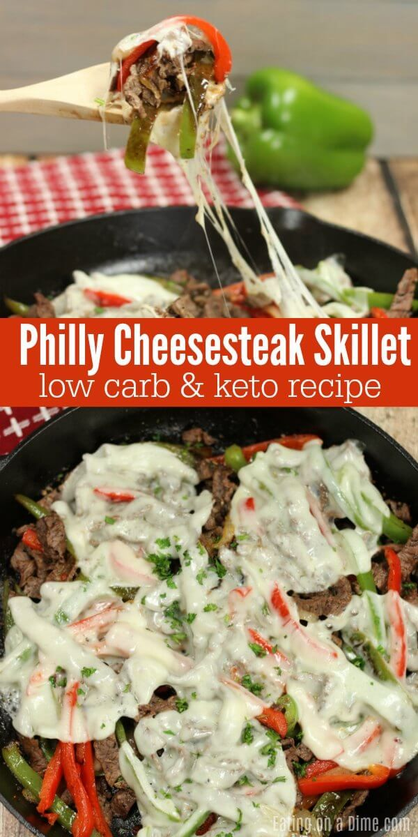 Keto Philly Cheese Steak Skillet dinner - Low Carb Philly Cheesesteak