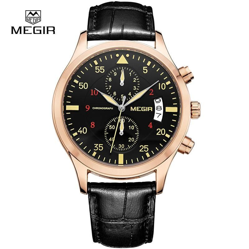 MEGIR new fashion leather stop watch for man 2015 casual