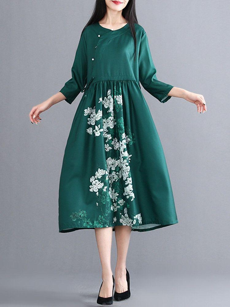 105531e7b60 US 52.99 - Floral Print Cross Wrap Vintage Dress
