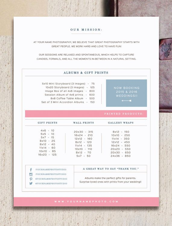 Pricing Guide Template for Wedding Photographers - Wedding Album