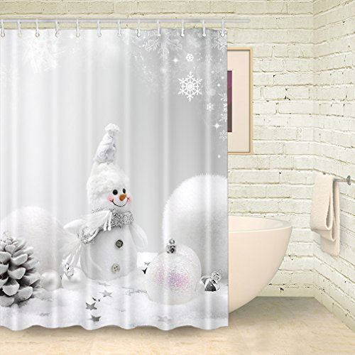 Pin By Backdrops On Shower Curatins Snowman Shower Curtain Shower Curtain Hooks Grey Curtains