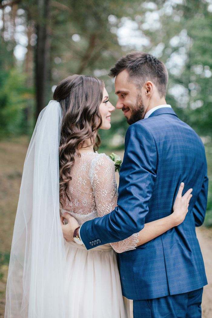 A handmade wedding dress for a woodland-themed wedding