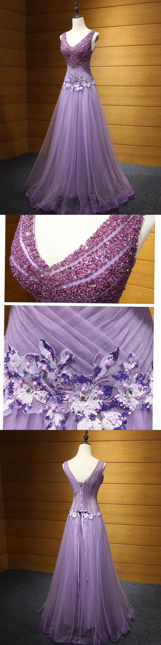 prom dress vneck floorlength beading lavender long prom dress