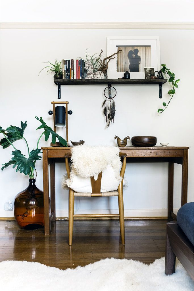Home Office E With A Wishbone Chair Lamb Throws And Indoor Plants