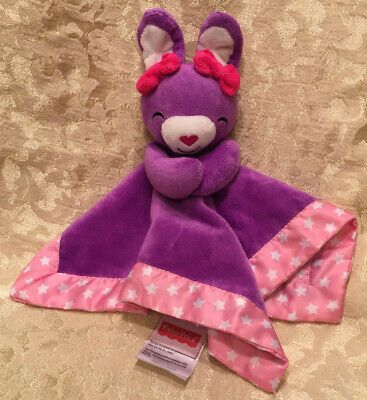 Details about Fisher Price Lovey Security Blanket Plush Purple Bunny Rabbit Pink Star Satin #securityblankets