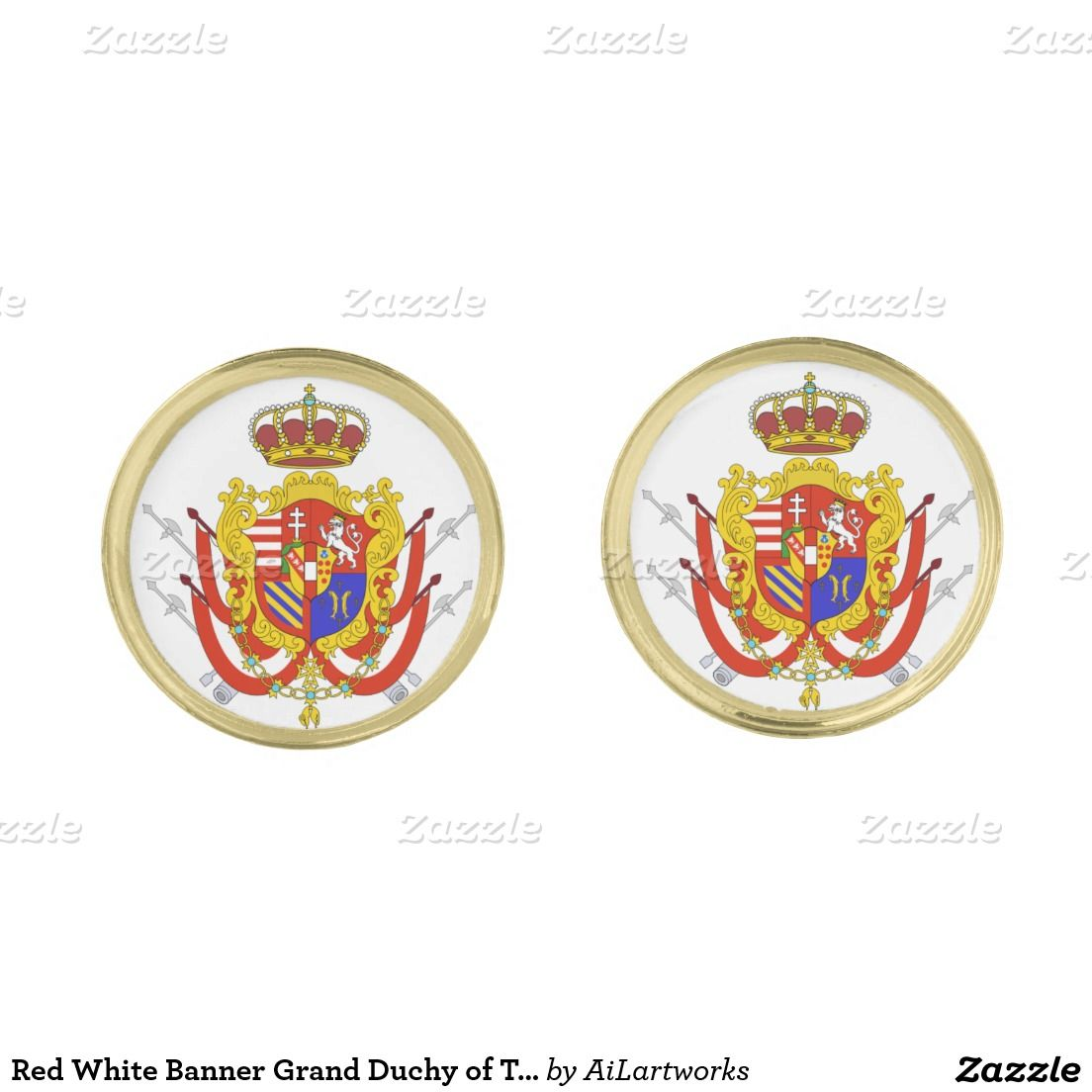 Red White Banner Grand Duchy of Tuscany Gold Finish Cufflinks