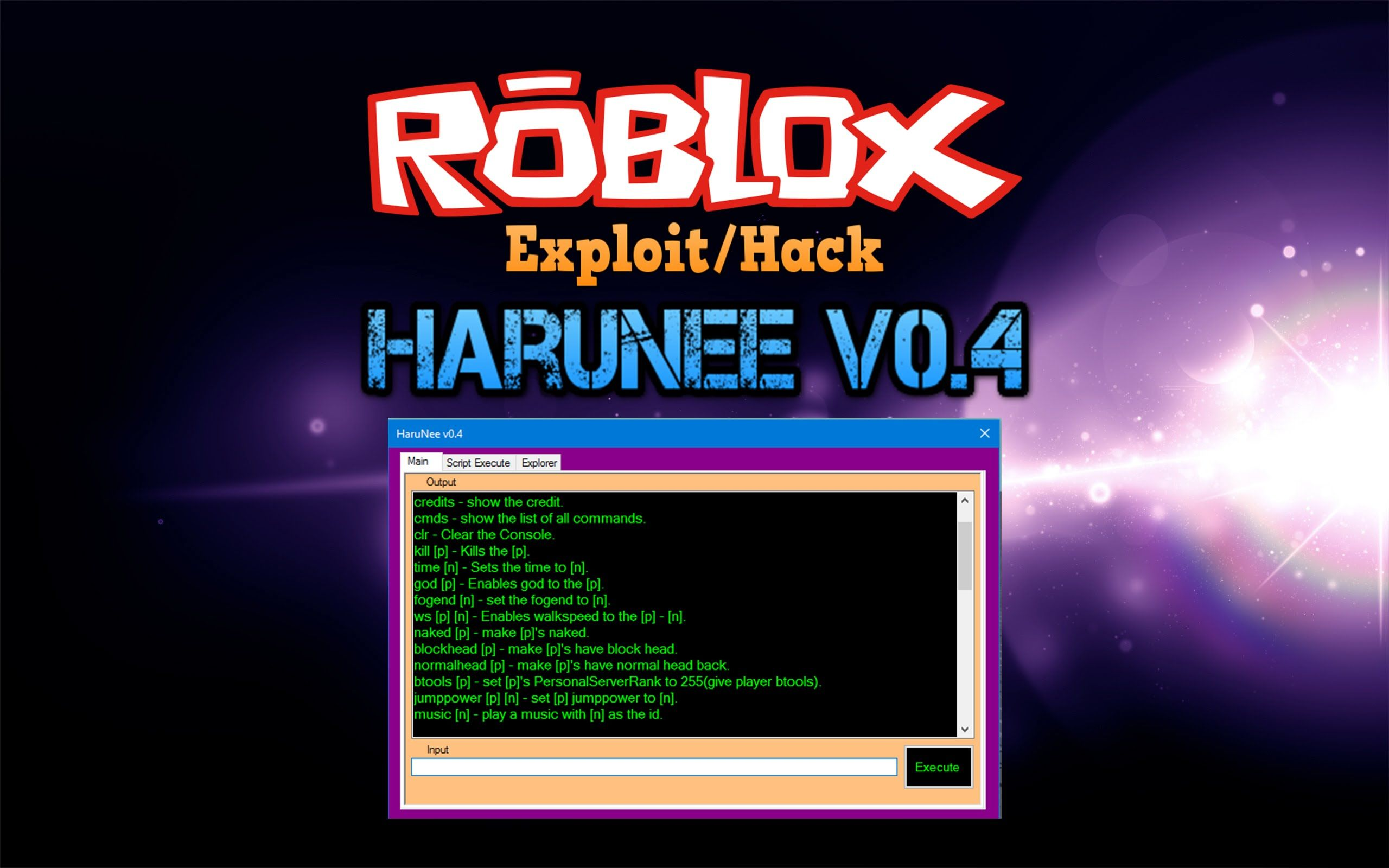 ROBLOX Exploit: HARUNEE V0 4 [35+ Commands][Gear and MORE