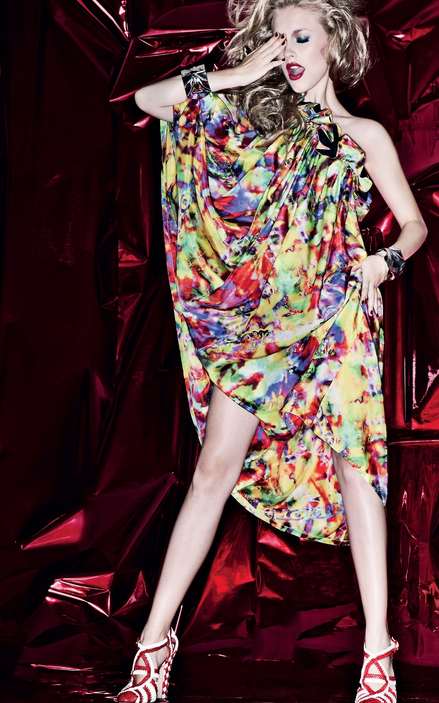 a6755cb58c412 Disco inferno.  70s  Inspired  Fashion  Retro  Tropical  Floral  Print   Colorful  Dress  Off  Shouler