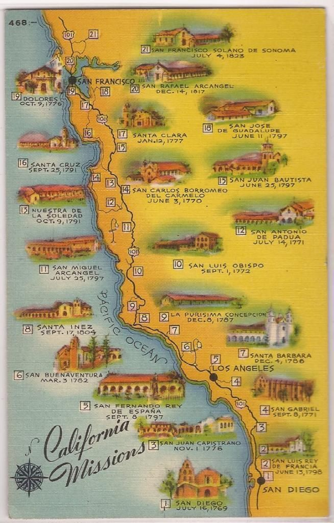 Map Of California Missions Locations.California Missions Postcard Map W All 21 Locations Linen Dated 1945