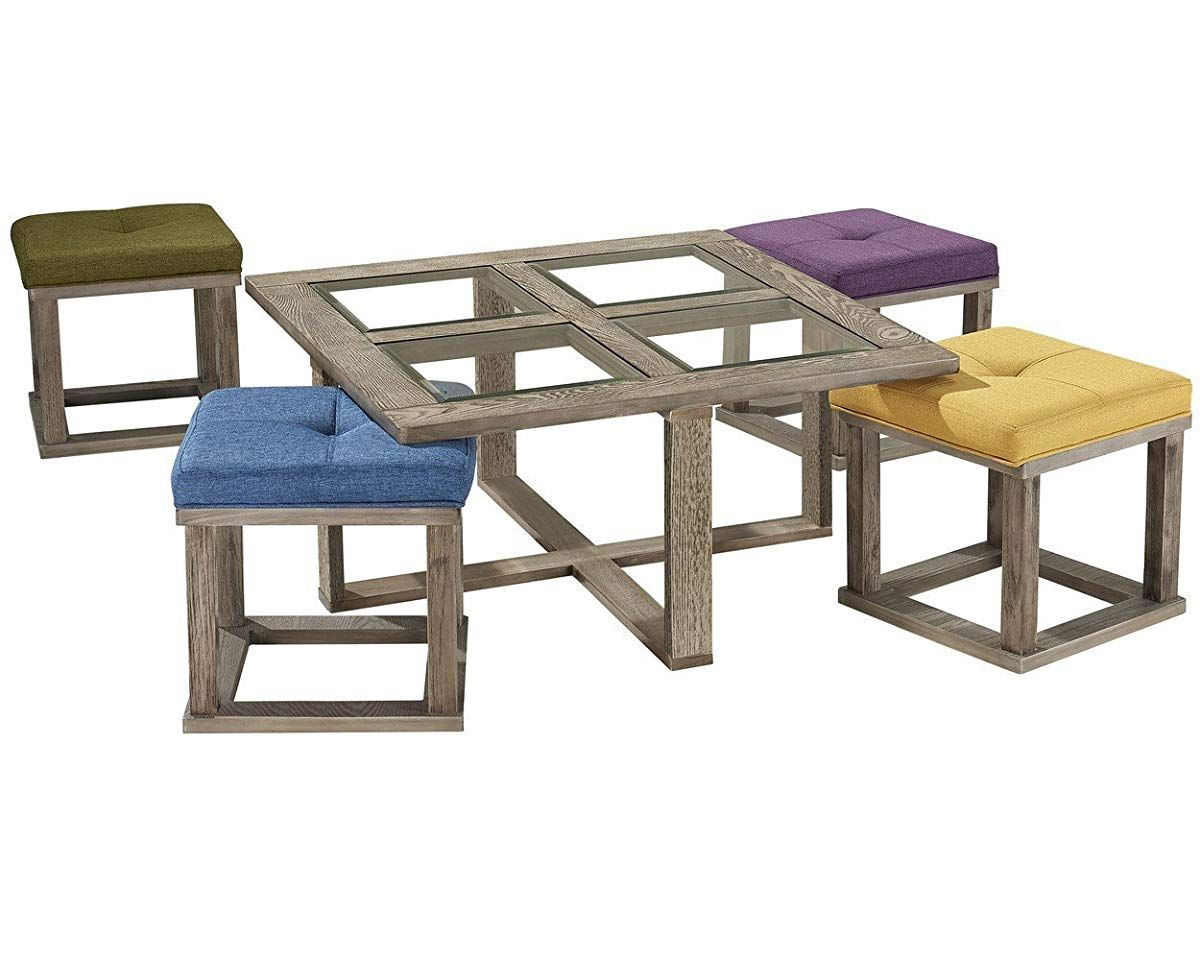 Square Coffee Table With 4 Nesting Stools Coffee Table Nesting Coffee Tables Coffee Table Square Coffee table with nesting stools