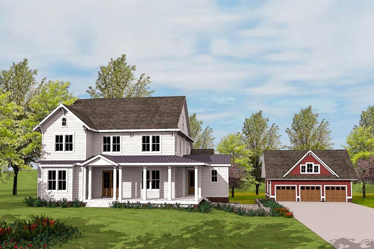 Plan 500020vv Modern Farmhouse Plan With Matching Detached Garage In 2020 Modern Farmhouse Plans Farmhouse Plans Garage House Plans