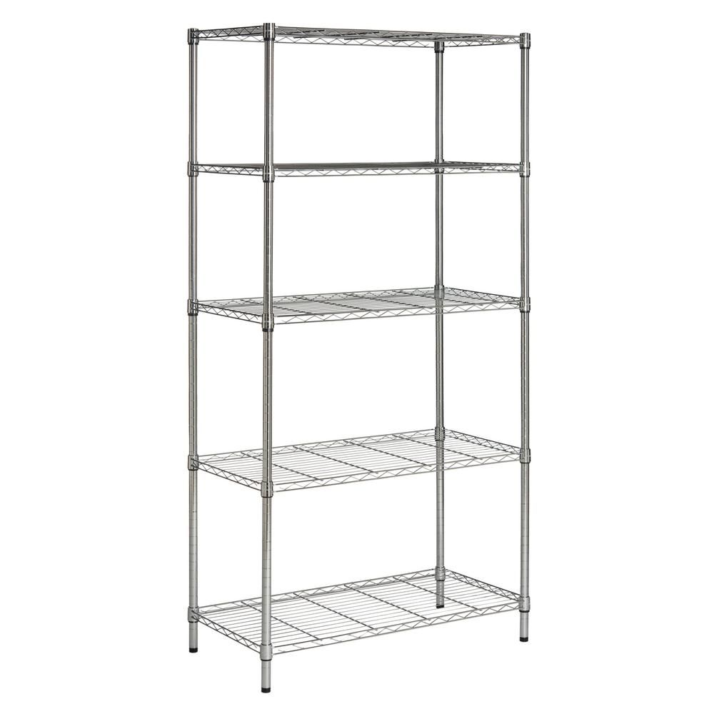 Happimess Chrome 5 Tier Steel Wire Shelving Unit 35 In W X 72 In H X 18 In D Hpm5026b The Home Depot Steel Storage Rack Heavy Duty Shelving Wire Shelving