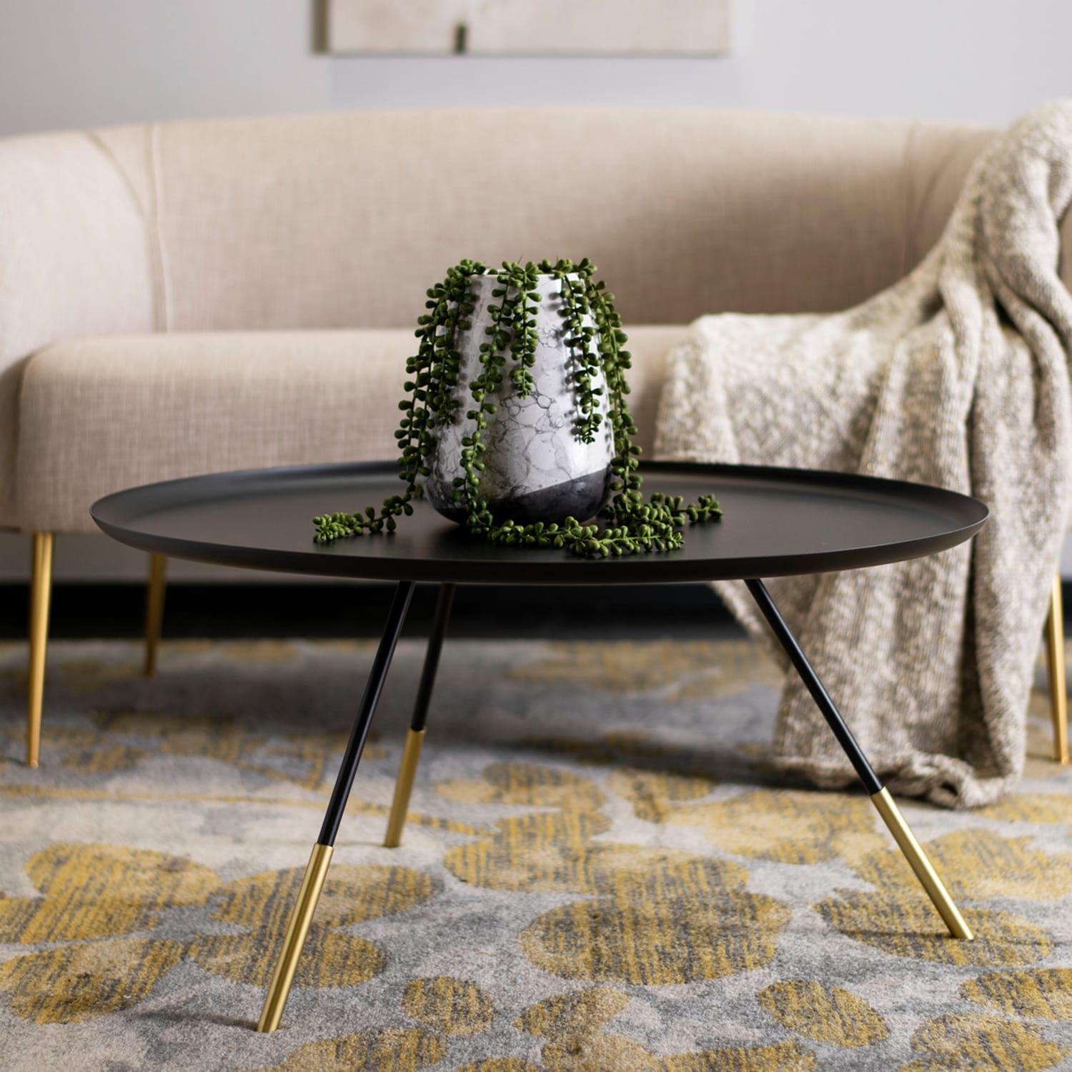 Safavieh Orson Coffee Table With Metal Gold Cap Coffee Table Round Gold Coffee Table Round Coffee Table [ 1500 x 1500 Pixel ]