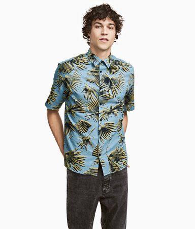 Camisa en mezcla de lino   Azul/Palmas   Hombre   H&M CO