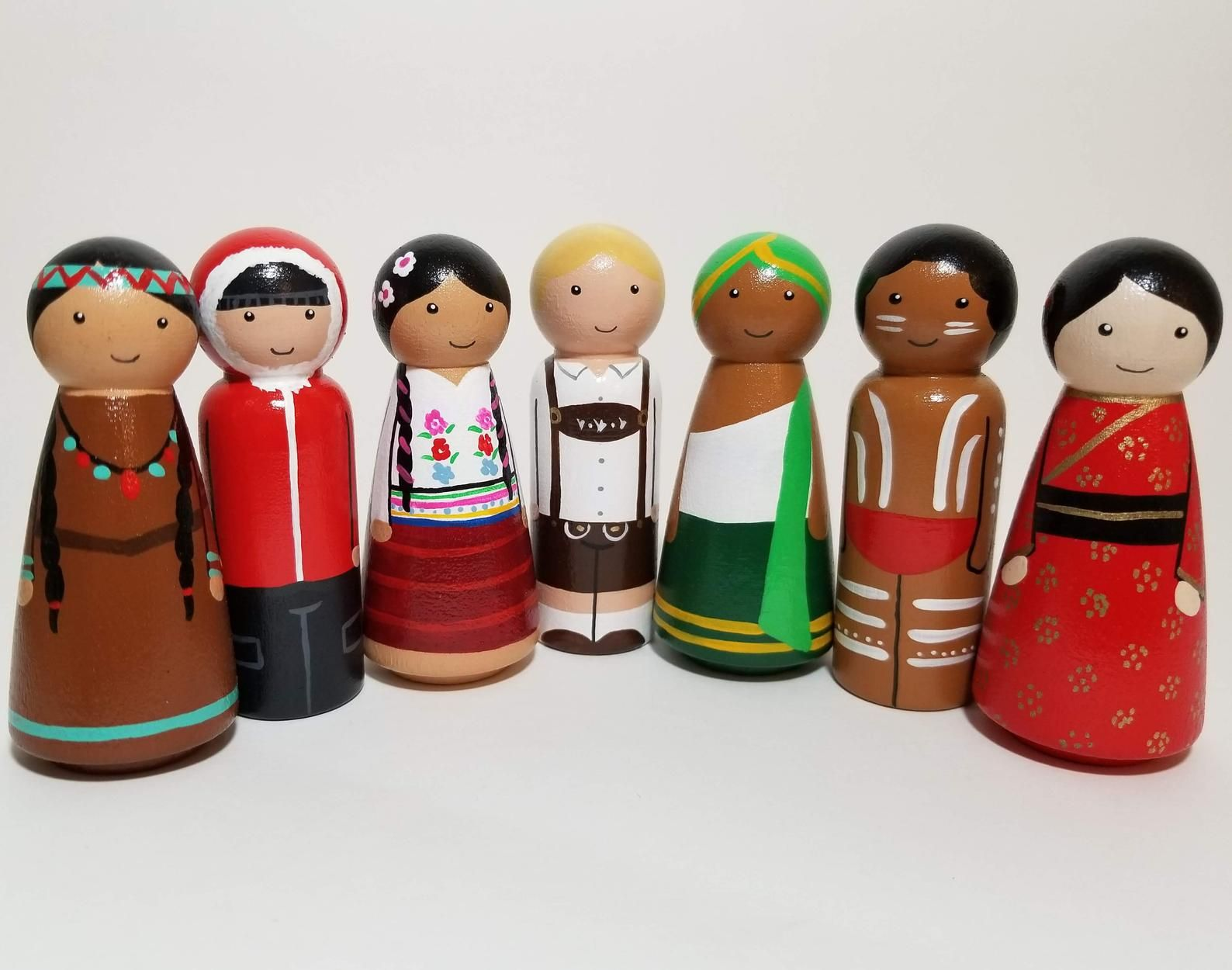 The Seven Continents Peg Dolls Peg Dolls From Every Peg Dolls Wood Peg Dolls Dolls