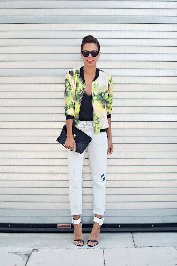 the vala bomber | printed silk bomber jacket, boyfriend jeans, ankle strap heels, lace cami #ootd #stylemegrasie