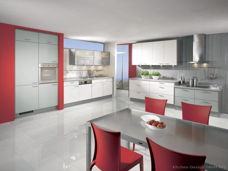 Delightful #Kitchen Idea Of The Day: Modern White Kitchen With Red Accent Walls And  Contrasting Part 14