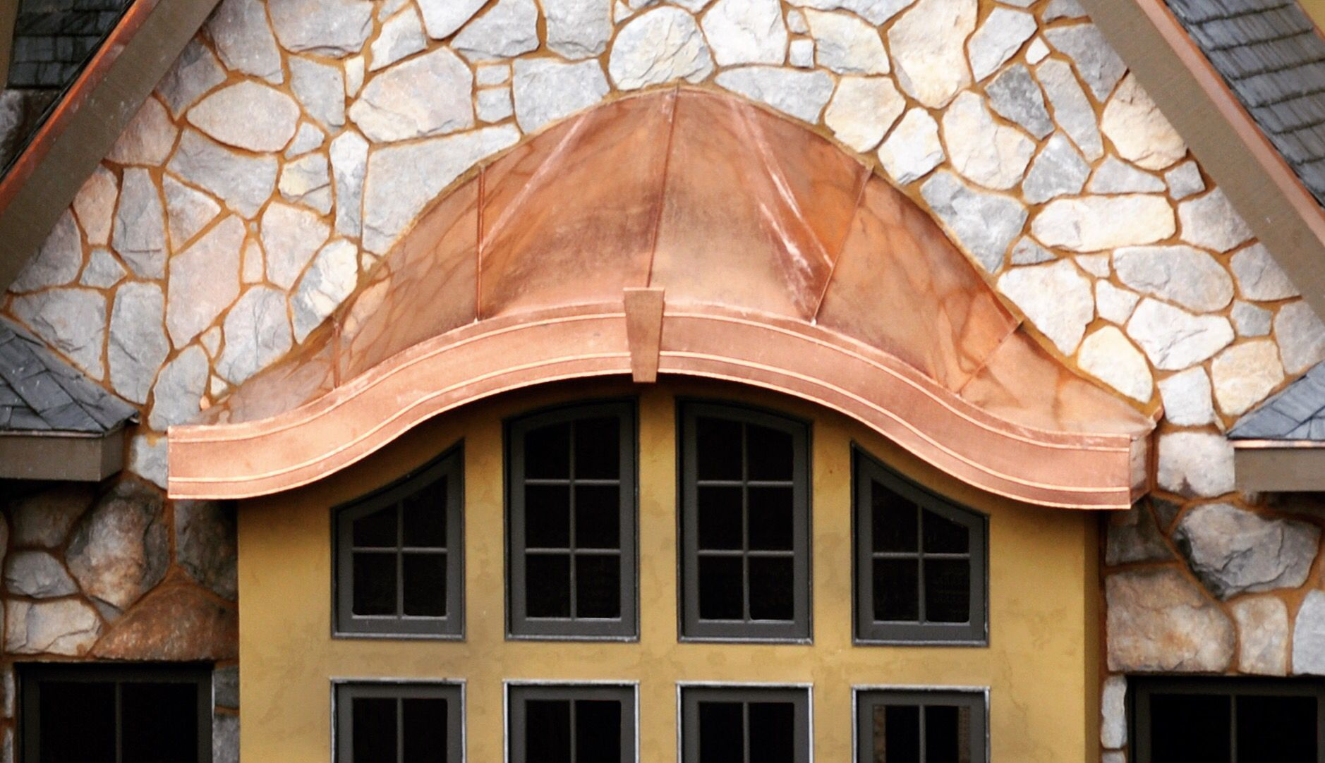 Attractive Curved Shape For Copper Awning Custom Awnings Copper Awning House Awnings