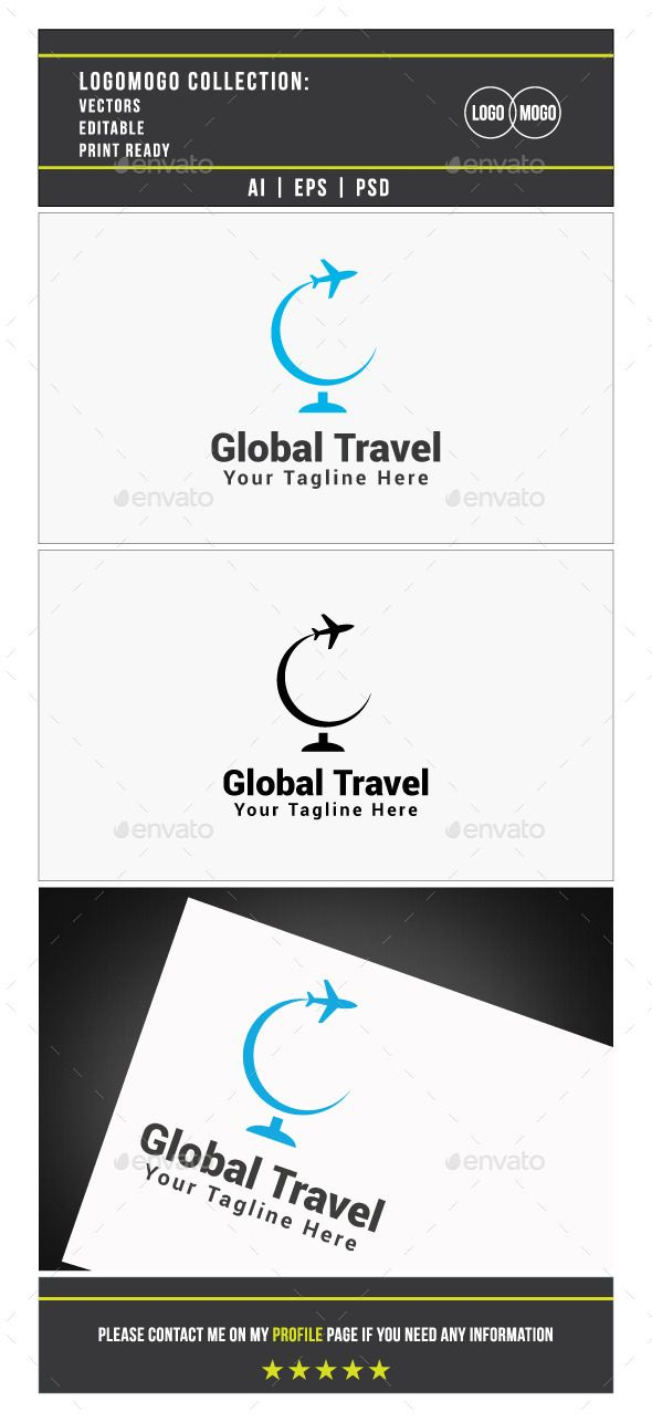 Global Travel Logo Template Photoshop PSD Tour Plane O Available Here Graphicriver Item 10315946refpxcr