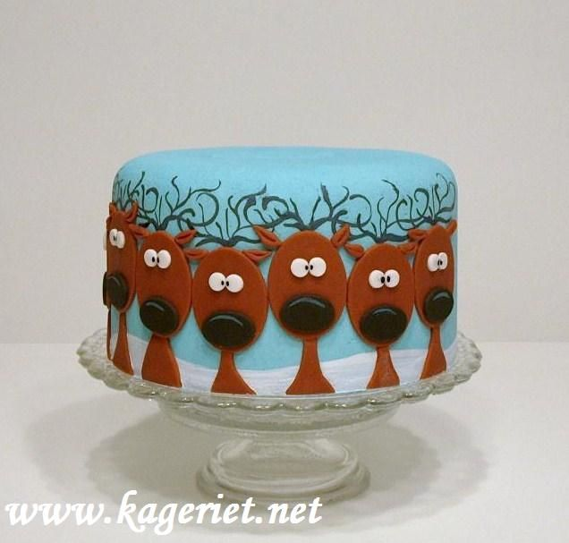 Reindeer Cake.. One needs a red nose for Rudolph.