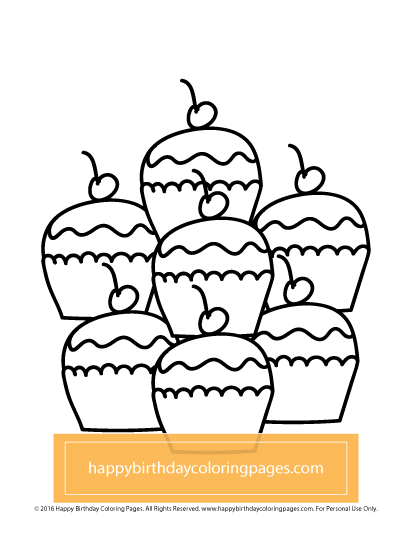 FREE Cupcake Coloring Page Happy Birthday Coloring Pages