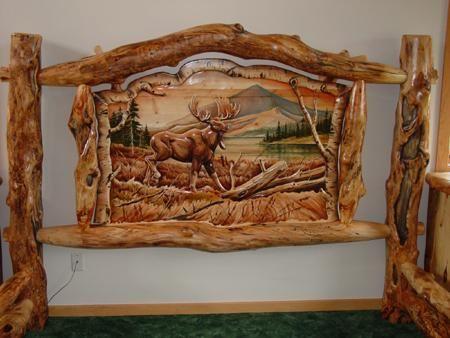 Burl Aspen Log Beds With Carved Panel Log Furniture Cabin