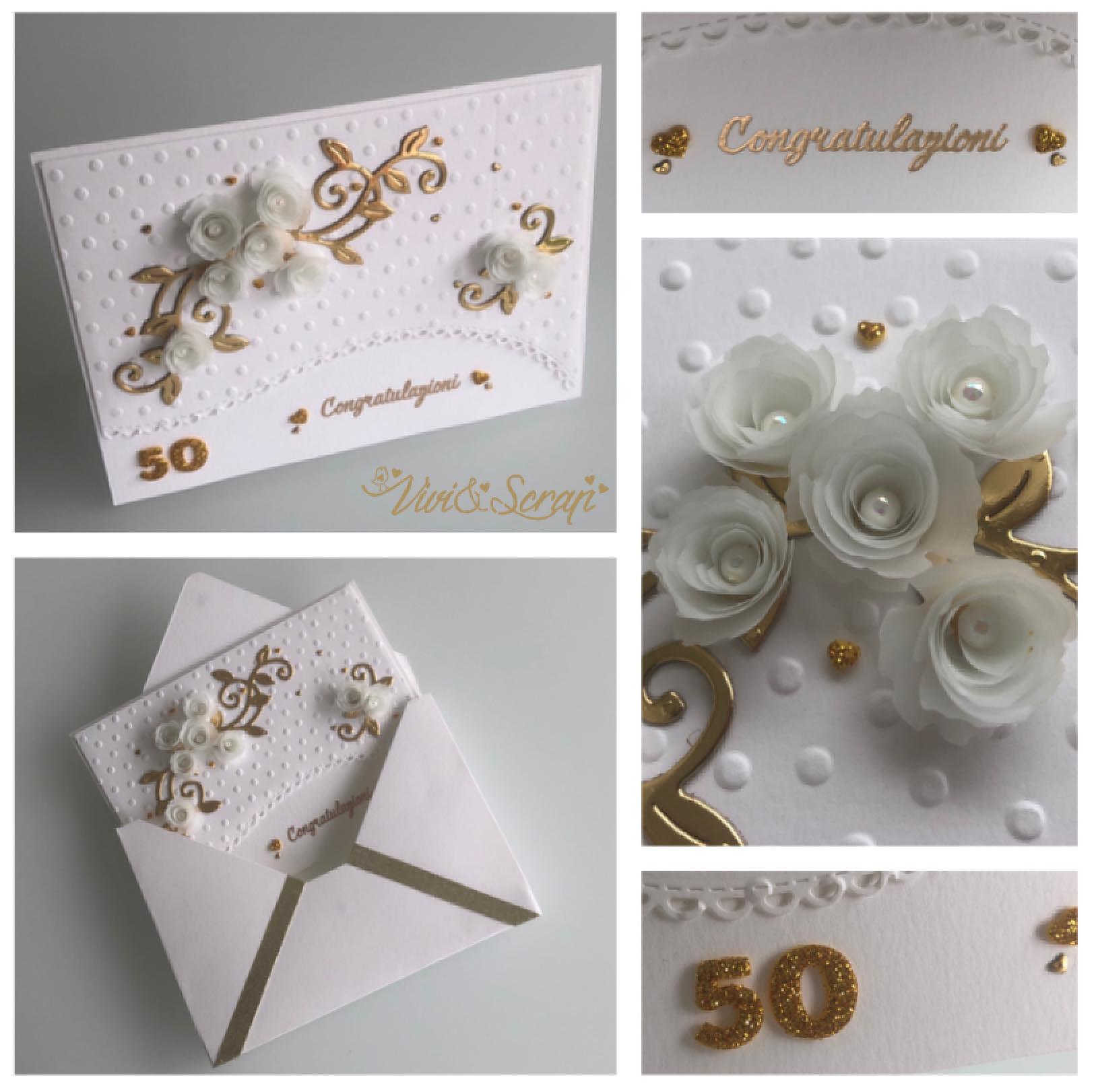 Scrapbooking 50th Wedding Card With Flowers And Envelope 3d Biglietti Di Nozze Matrimonio Con Fiori Envelope Punch Board