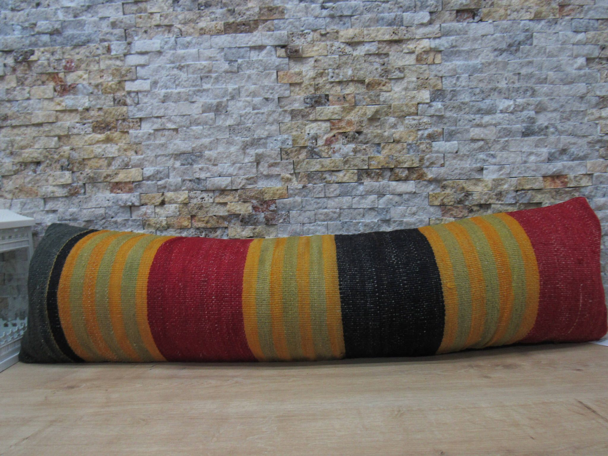 Yellow Red And Black Kilim Pillow Striped Kilim Pillow Decorative