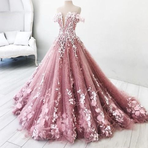 Strapless embroidered floor length dusty pink ball gown