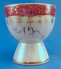 Vintage Egg Cup Pearlized Finish w/ Gold patterns and Burgundy Band