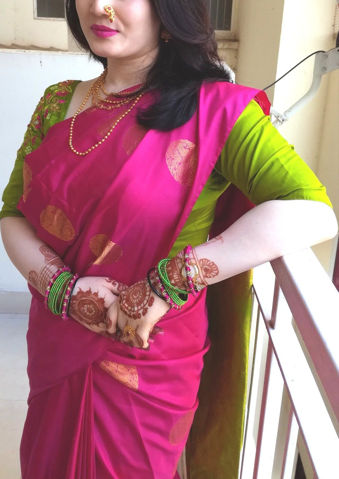 e162e24fd9b3f7 Pink  borderless  patli  kanchipuram  saree with  green  blouse ...