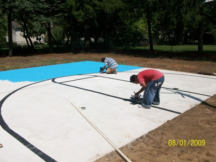 Perfect Concrete Basketball Court. Outdoor Basketball ...