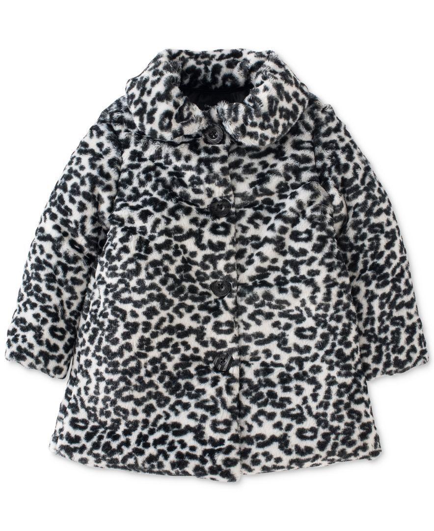 Calvin Klein Toddler Girls' Leopard Faux-Fur Coat   kids fashion ...
