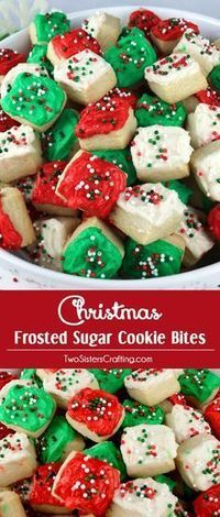 Christmas Sugar Cookie Bites - these yummy Christmas Treats are so easy to decorate that even the youngest family member can join in on the fun. & Christmas Sugar Cookie Bites | Pinterest | Christmas sugar cookies ...