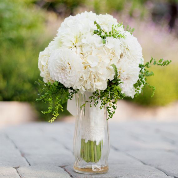Wedding White Hydrangea: White Hydrangea, Dahlia, & Fern Bouquet (via 100LC
