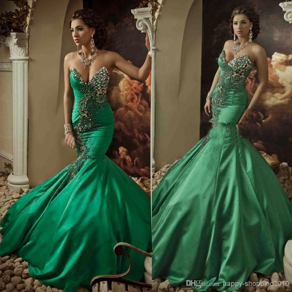 2014 Green Wedding Gown Mermaid Sweetheart Lace Up Back Sweep Train Vintage Vestidos Bridal Dresses Hot Saudi Arabia Evening Gown Dhyz 03 From Happy Shopping201 Green Wedding Dresses Satin Mermaid Wedding [ 1000 x 1000 Pixel ]