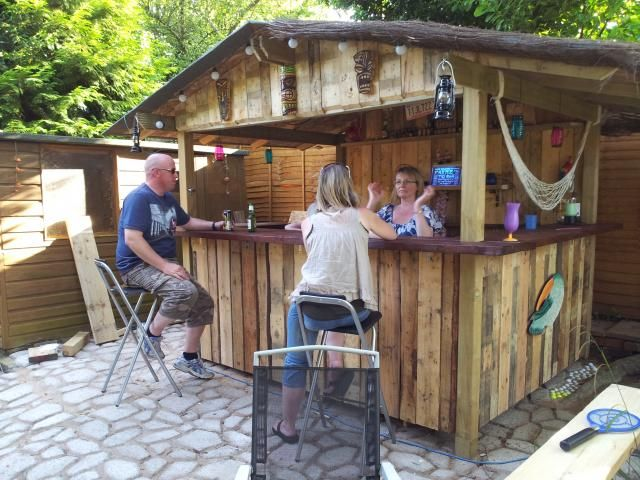 New home tiki bar in bucks uk tiki bars pinterest for Diy backyard bar