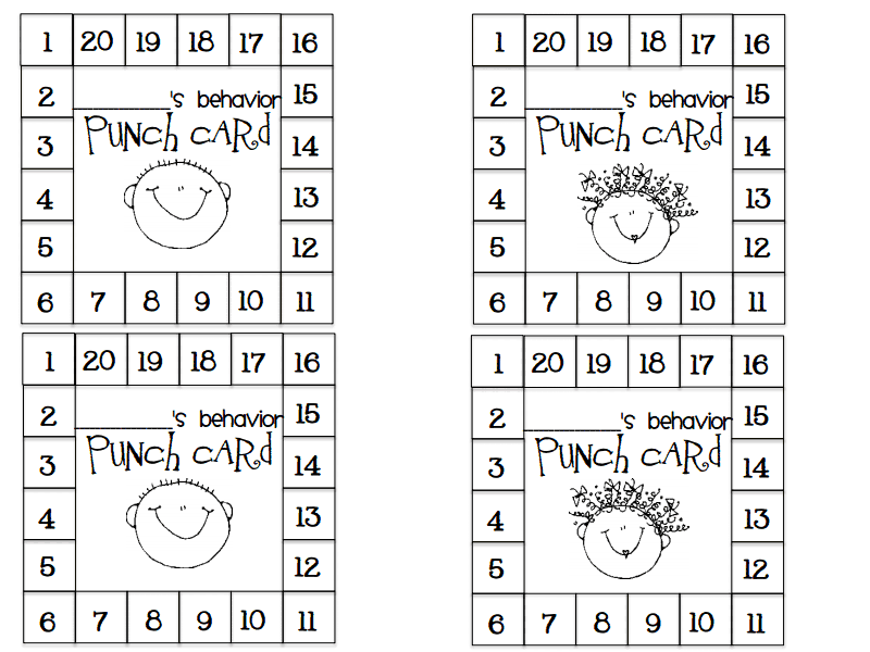 Punch Card Pdf Google Drive Behavior Punch Cards Punch Cards Behavior Cards