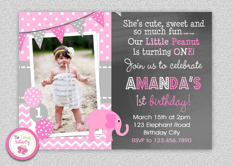Printable Pink and Gray Elephant Birthday Invitation