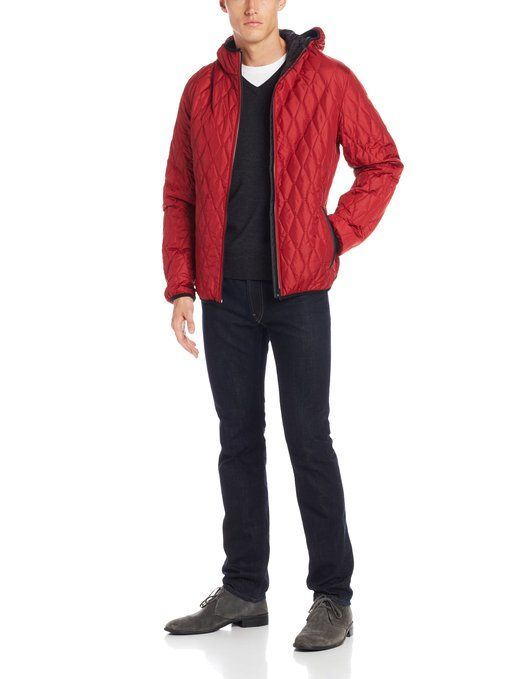 Victorinox Men's Davos Quilted Hooded Jacket, Red, Medium