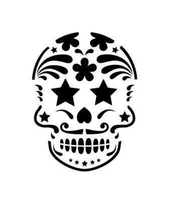 Pochoir tatouage temporaire Tete de mort Mexicaine - tdm 7 ... - Pochoir Tete De Mort