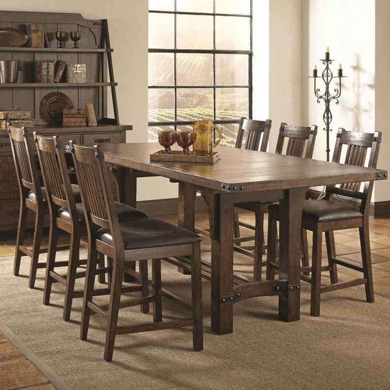 Furniture Unfinished Distressed Wood And Metal Dining Table From The Harmony