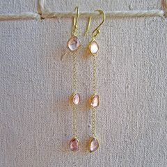 Rose cut sapphire three drop earrings. 18k gold. What lovely pink ladies they are!